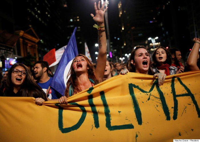 Women shout slogans during a protest against Brazil's interim President Temer and in support of suspended President Rousseff in Sao Paulo